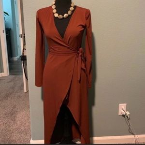 Forever 21 Semi Formal Rust Wrap Dress